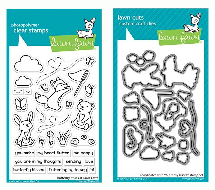 RESERVE Lawn Fawn SET BUTTERFLY KISSES Clear Stamps and Dies LF19BK zoom image