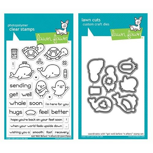 RESERVE Lawn Fawn SET GET WELL BEFORE 'N AFTERS Clear Stamps and Dies LF19GWB Preview Image