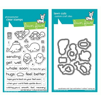 RESERVE Lawn Fawn SET GET WELL BEFORE 'N AFTERS Clear Stamps and Dies LF19GWB