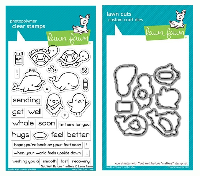 RESERVE Lawn Fawn SET GET WELL BEFORE 'N AFTERS Clear Stamps and Dies LF19GWB zoom image