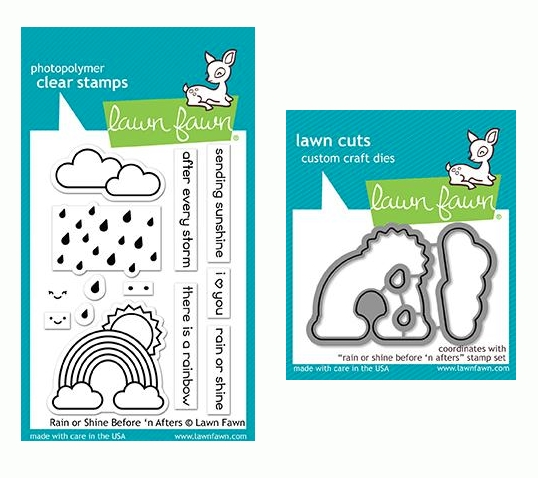 RESERVE Lawn Fawn SET RAIN OR SHINE BEFORE 'N AFTERS Clear Stamps and Dies LF19ROS zoom image