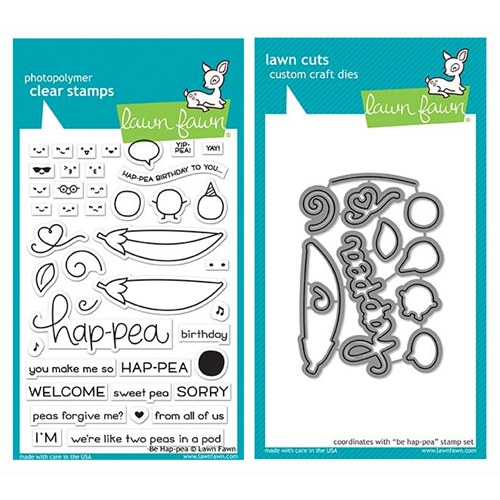 RESERVE Lawn Fawn SET BE HAP-PEA Clear Stamps and Dies LF19BHP Preview Image