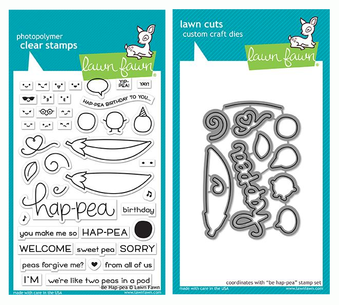 RESERVE Lawn Fawn SET BE HAP-PEA Clear Stamps and Dies LF19BHP
