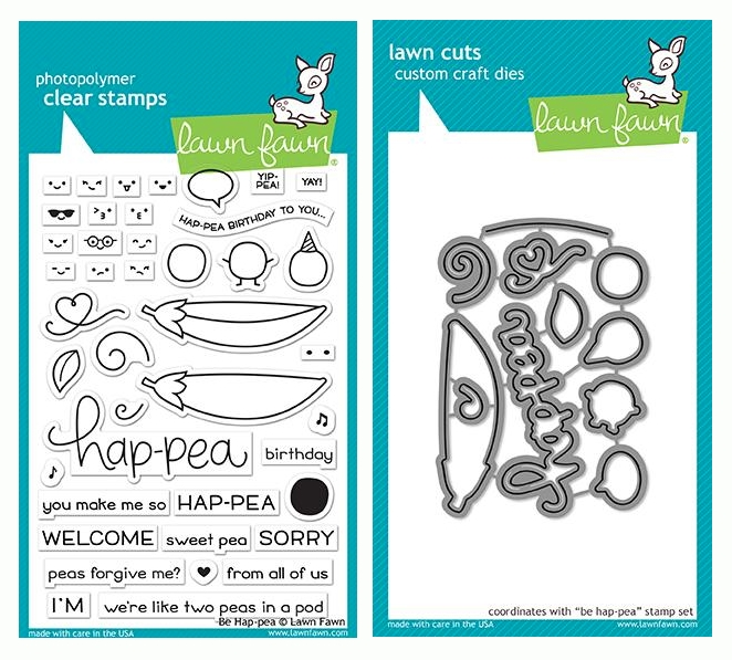 RESERVE Lawn Fawn SET BE HAP-PEA Clear Stamps and Dies LF19BHP zoom image