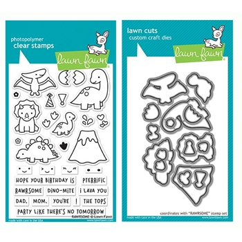 Lawn Fawn SET RAWRSOME Clear Stamps and Dies LF19SRM