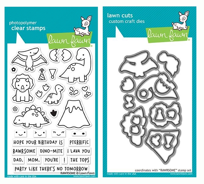 RESERVE Lawn Fawn SET RAWRSOME Clear Stamps and Dies LF19SRM zoom image