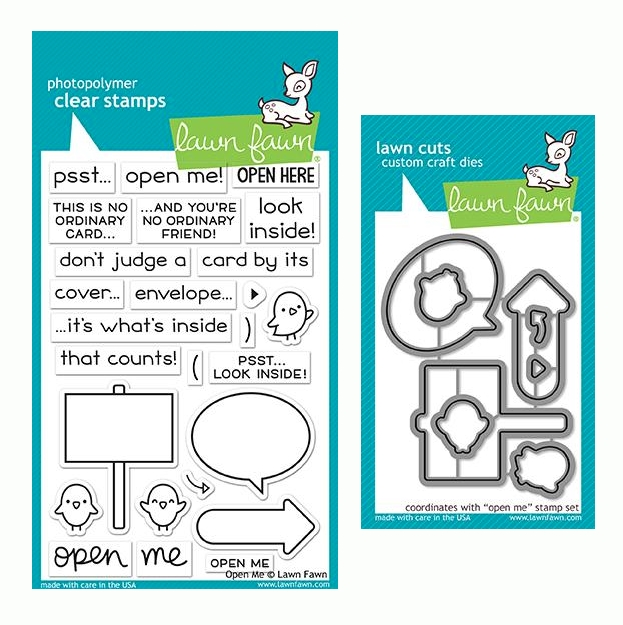 RESERVE Lawn Fawn SET OPEN ME Clear Stamps and Dies LF19OM zoom image