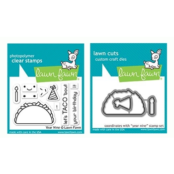 Lawn Fawn SET YEAR NINE Clear Stamps and Dies LF19YN