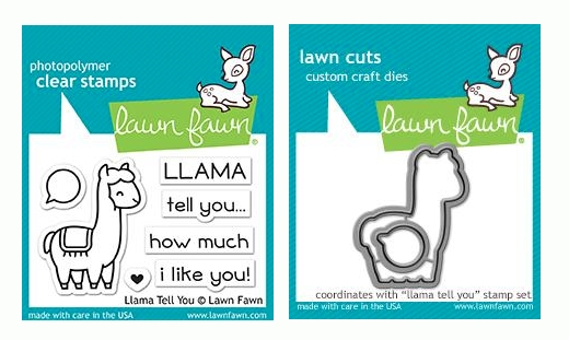 Lawn Fawn SET LLAMA TELL YOU Clear Stamps and Dies LF19LTY zoom image