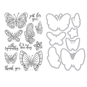Hero Arts NEW DAY BUTTERFLIES CLEAR STAMP & DIE COMBO SB222
