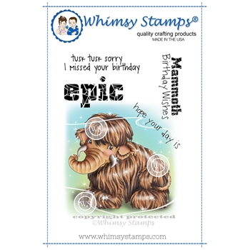 Whimsy Stamps WOOLLY MAMMOTH Rubber Cling Stamp C1267