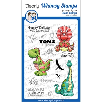 Whimsy Stamps DINOSAUR FRIENDS Clear Stamps C1266