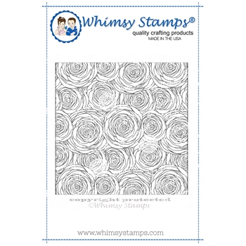 Whimsy Stamps SPIRAL ROSES BACKGROUND Cling Stamp DDB0017