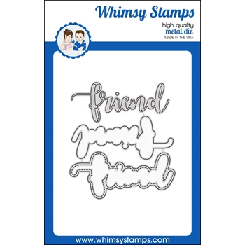 Whimsy Stamps FRIEND WORD WITH SHADOW Dies WSD366