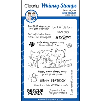 Whimsy Stamps ADOPT DON'T SHOP CATS Clear Stamps CWSD223