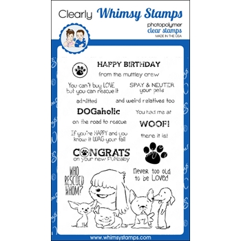 Whimsy Stamps ADOPT DON'T SHOP DOGS Clear Stamps C1224
