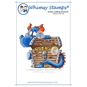 Whimsy Stamps PEEKING DRAGON Rubber Cling Stamp DP1004