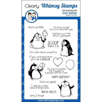 Whimsy Stamps PENGUIN POOP Clear Stamps CWSD231