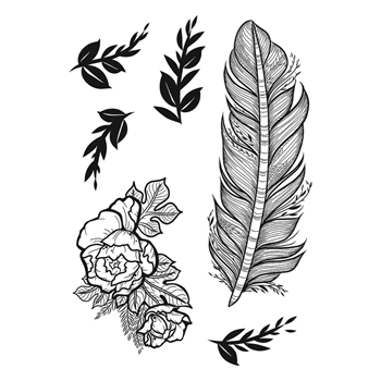 SBS-185 Spellbinders BOTANICAL FEATHER Cling Stamps