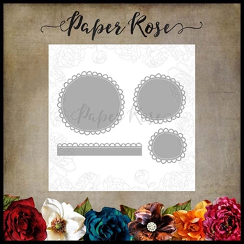 Paper Rose WONKY SCALLOPED CIRCLES AND BORDER Craft Dies 17916