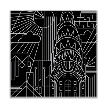 Hero Arts Cling Stamp DECO IN THE CITY Bold Prints CG768