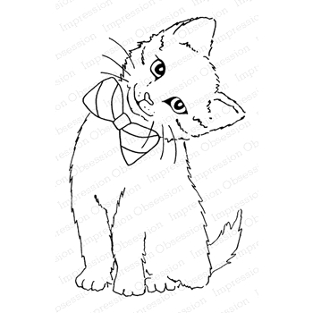Impression Obsession Cling Stamp BOWTIE KITTY E23025
