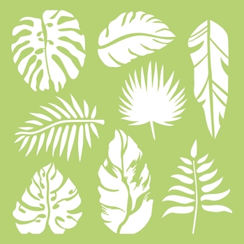 Kaisercraft TROPICAL LEAVES 6x6 Inch Designer Stencil Template IT485