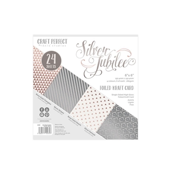 Tonic SILVER JUBILEE Craft Perfect Luxury Embossed 6 x 6 Card Pack 9435e
