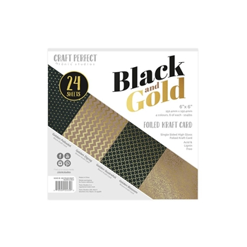 Tonic BLACK & GOLD Craft Perfect Luxury Embossed 6 x 6 Card Pack 9434e