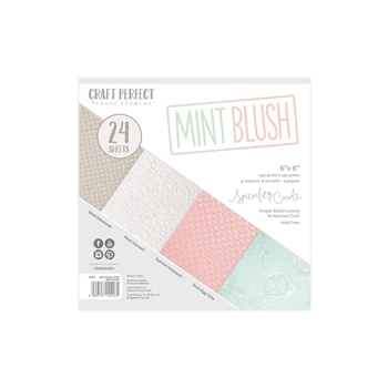 Tonic MINT BLUSH Craft Perfect Luxury Embossed 6 x 6 Card Pack 9426e