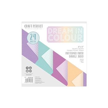 Tonic DREAM IN COLOUR Craft Perfect Patterned 6 x 6 Card Pack 9375e