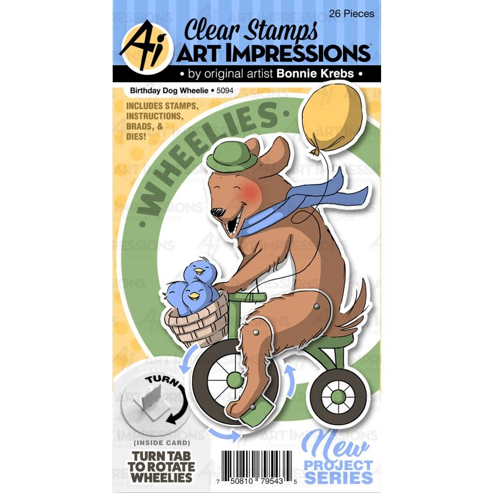 Art Impressions BIRTHDAY DOG WHEELIE Clear Stamp and Die Set 5094 zoom image