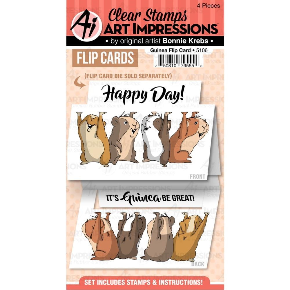 Art Impressions GUINEA FLIP CARD Clear Stamps 5106 zoom image