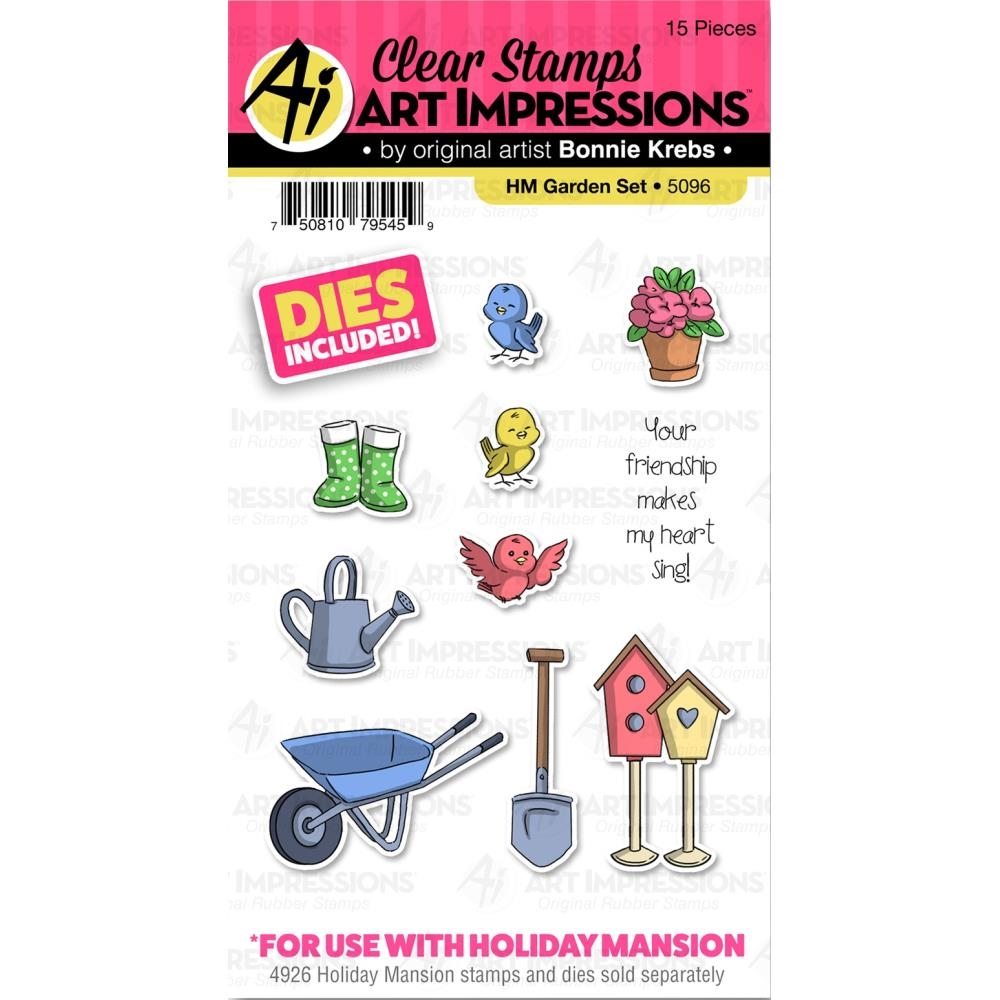 Art Impressions GARDEN SET Clear Stamps and Dies Holiday Mansion Accessories 5096 zoom image