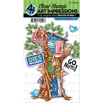 Art Impressions WOODLAND TREE CUBBIES Clear Stamps and Dies 5100