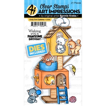 Art Impressions COZY CAT CUBBIES Clear Stamps and Dies 5098