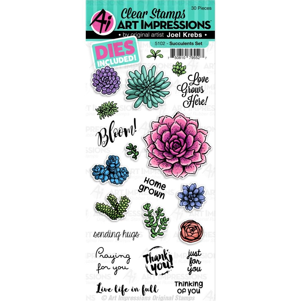 Art Impressions SUCCULENTS Clear Stamp and Dies 5102 zoom image