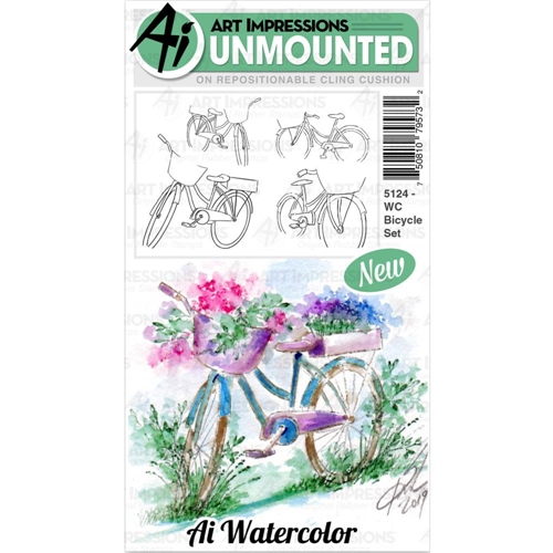Art Impressions Watercolor BICYCLE Cushion Cling Stamps 5124 Preview Image