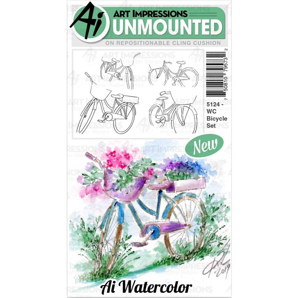 Art Impressions Watercolor BICYCLE Cushion Cling Stamps 5124 zoom image