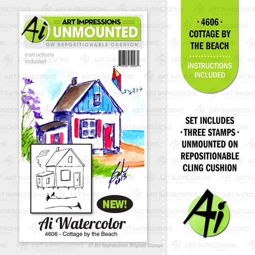 Art Impressions Watercolor COTTAGE BY THE BEACH Cushion Cling Stamps 4606 Preview Image