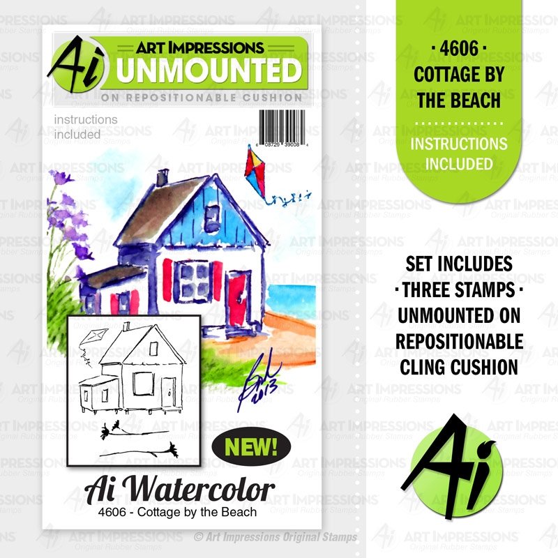 Art Impressions Watercolor COTTAGE BY THE BEACH Cushion Cling Stamps 4606 zoom image