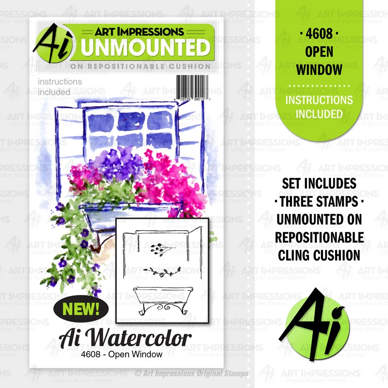 Art Impressions Watercolor OPEN WINDOW Cushion Cling Stamps 4608 zoom image