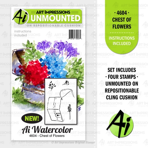 Art Impressions Watercolor CHEST OF FLOWERS Cushion Cling Stamps 4604 Preview Image