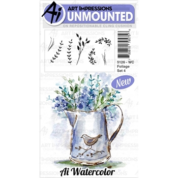 Art Impressions Watercolor FOLIAGE SET 4 Cushion Cling Stamps 5126