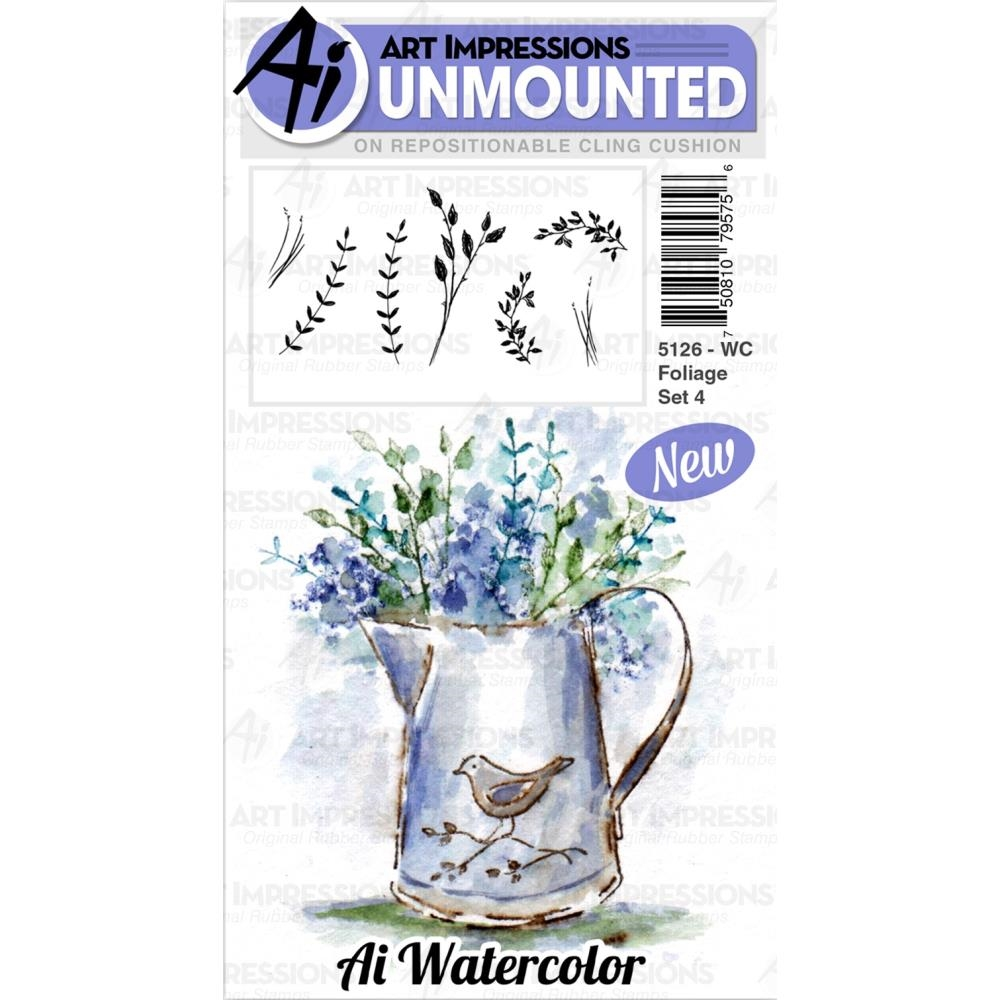 Art Impressions Watercolor FOLIAGE SET 4 Cushion Cling Stamps 5126 zoom image