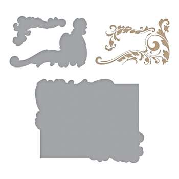 GLP-119 Spellbinders GILDED LEAVES SHAPED PANEL Glimmer Hot Foil Plate