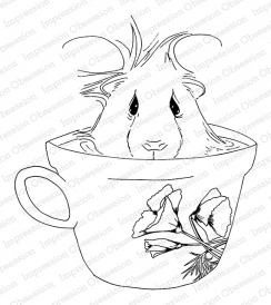 Impression Obsession Cling Stamp COFFEE GUINEA PIG H13747