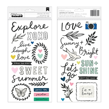 Crate Paper SUNNY DAYS SUMMERTIME Thickers Phrase Stickers 350800
