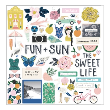 Crate Paper SUNNY DAYS 12 x 12 Chipboard Stickers 350801