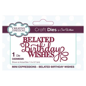 Creative Expressions BELATED BIRTHDAY WISHES Sue Wilson Mini Sentiments Collection Dies cedme029